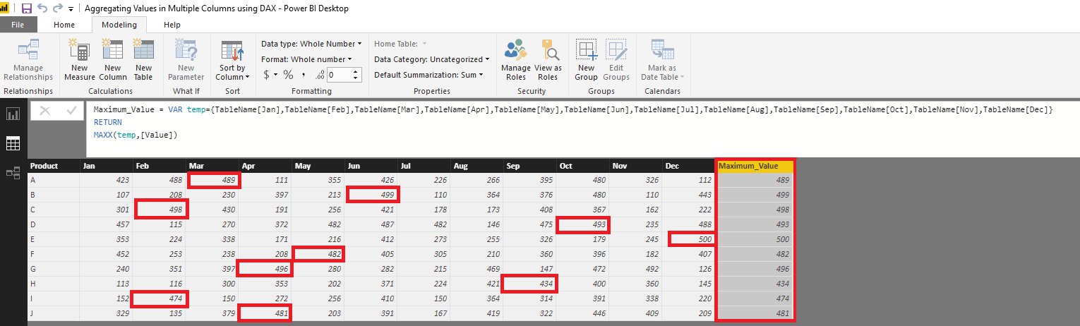 Aggregating Values in Multiple Columns using DAX – Power BI
